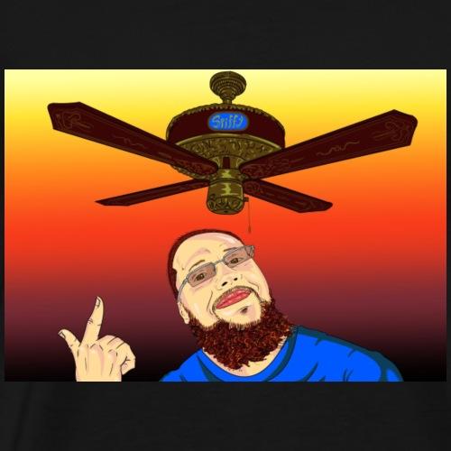 Dan Spiffy Neuman Ceiling Fan Logo #1 red sun BG - Men's Premium T-Shirt