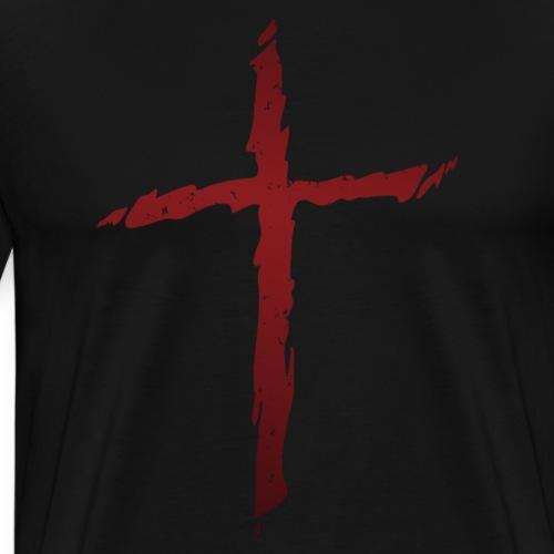 Old rugged distressed christian cross - Men's Premium T-Shirt