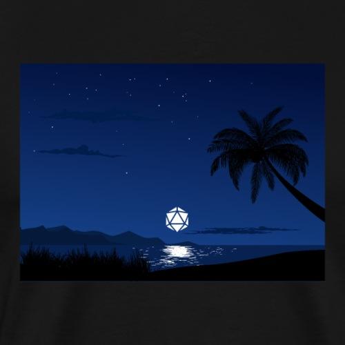 Serene Ocean D20 Dice Full Moon Reflection - Men's Premium T-Shirt