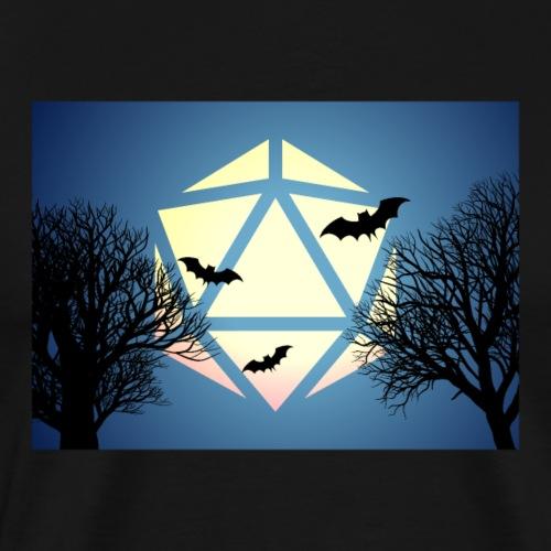 Halloween Bats D20 Dice Full Moon Tabletop Gaming - Men's Premium T-Shirt