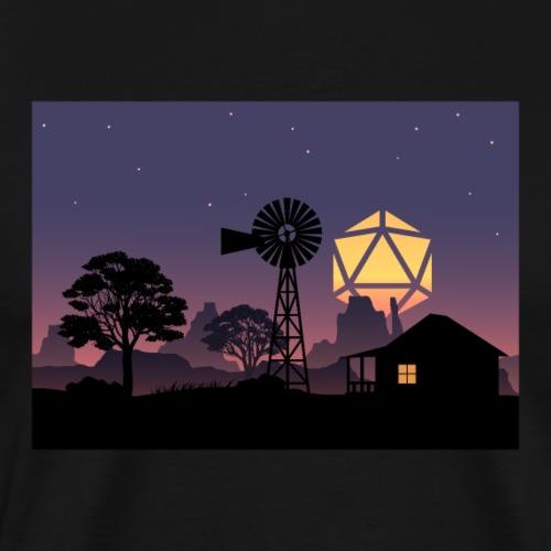 Farm Countryside Night D20 Dice Full Moon Lanscape - Men's Premium T-Shirt