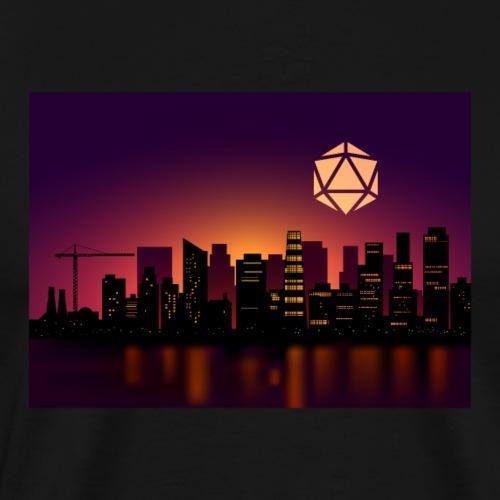 Synthwave D20 Dice Moon Cityscape RPG Landscapes - Men's Premium T-Shirt
