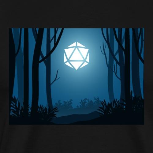 Dark Forest Trees D20 Dice Moon Night Landscape - Men's Premium T-Shirt