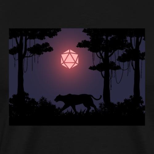Blood Moon D20 Dice Panther Forest RPG Landscape - Men's Premium T-Shirt