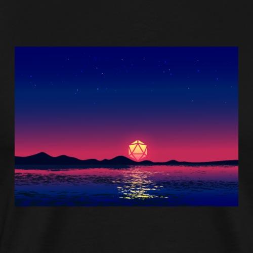 Beach Night D20 Dice Full Moon Reflection Lanscape - Men's Premium T-Shirt