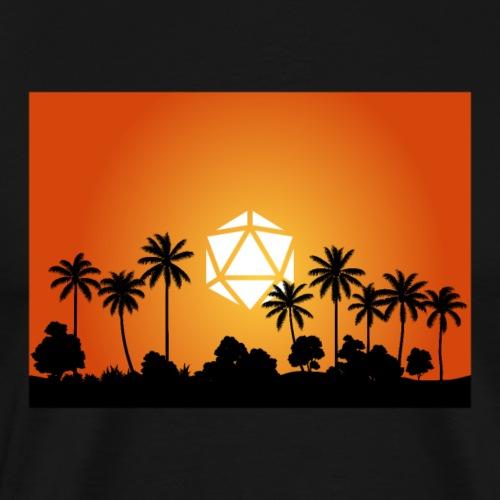 Palm Beach Sunset D20 Dice Sun RPG Landscape - Men's Premium T-Shirt