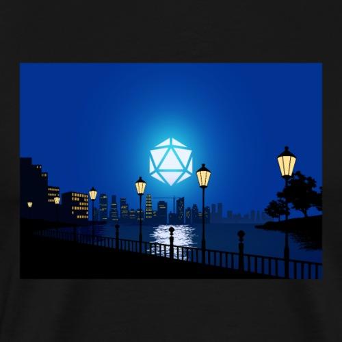 City Lights Cityscape D20 Dice Moon RPG Landscape - Men's Premium T-Shirt