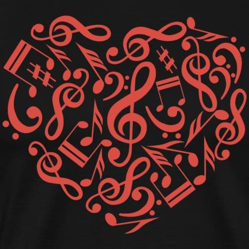T Shirt music notes heart cool vector image - Men's Premium T-Shirt