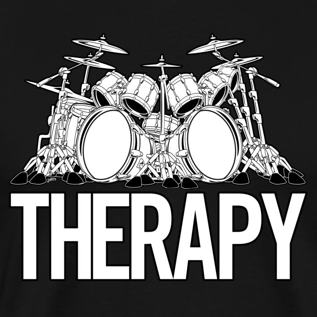 Drummers Therapy Drum Set Cartoon Illustration