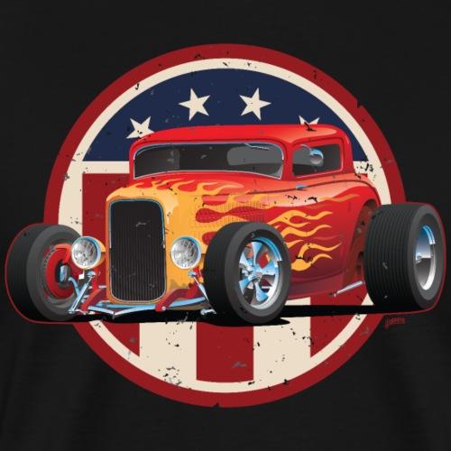 Vintage American 32 Hot Rod Coupe Car Illustration