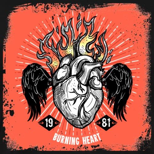 Burning Heart with amazing background - Men's Premium T-Shirt