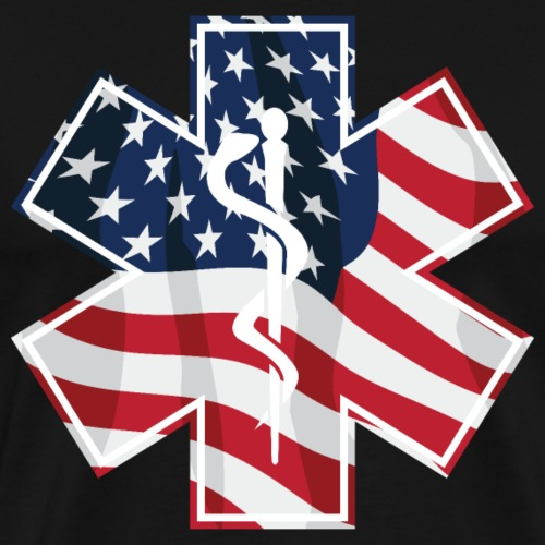 USA Patriotic Paramedic EMT Medical Service Symbol - Men's Premium T-Shirt