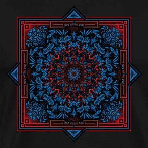 Red Blue Psychedelic Mandala Geometric Design - Men's Premium T-Shirt