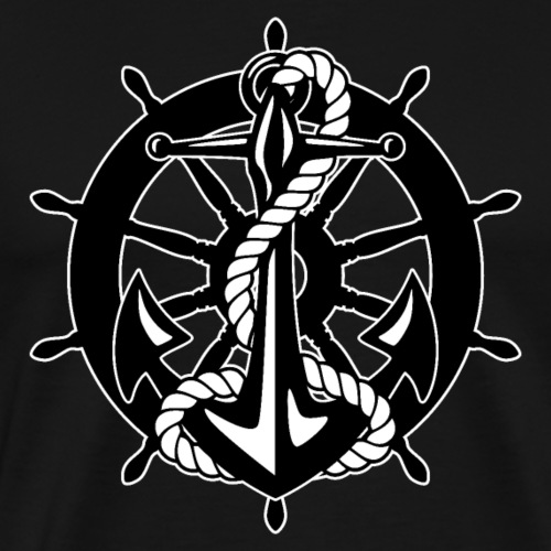 Old Sailing Ship Wheel With Anchor - Men's Premium T-Shirt