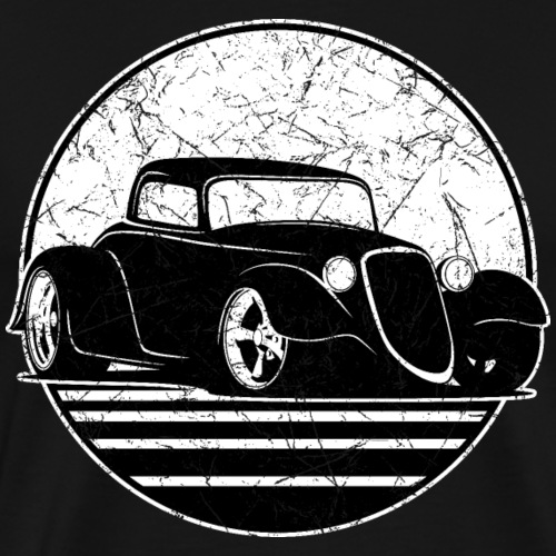 Retro Hot Rod Grungy Sunset Illustration - Men's Premium T-Shirt