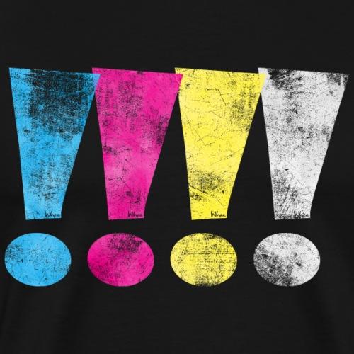 Distressed CMYK(W) Graphic Exclamation Points - Men's Premium T-Shirt