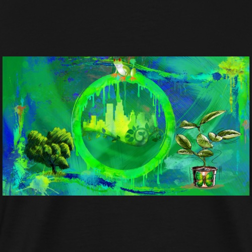 Grunge Green City Graphic Design - Men's Premium T-Shirt