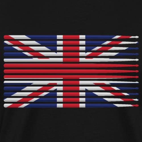 United Kingdom drummer drum stick flag - Men's Premium T-Shirt