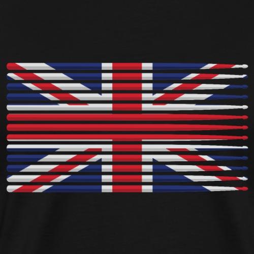 United Kingdom drummer drum stick flag - Men's Premium T-Shirt