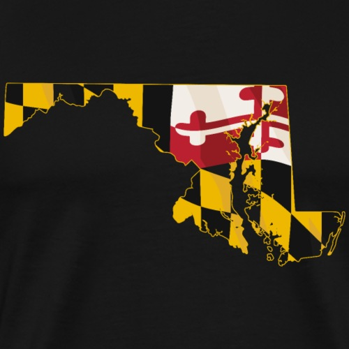 State of Maryland with Maryland flag embedded - Men's Premium T-Shirt