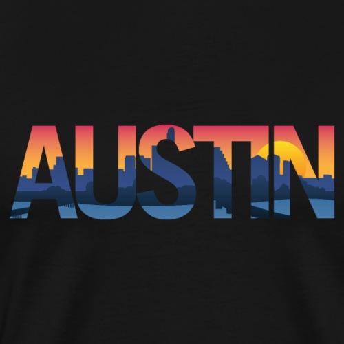 Austin Texas City Skyline Typography Overlay - Men's Premium T-Shirt