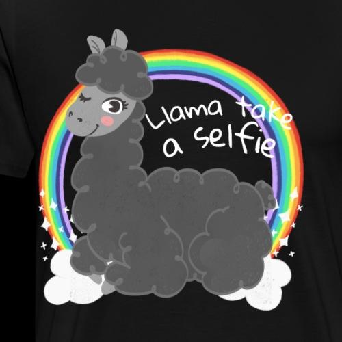 Llama take a selfie | Funny Rainbow Llama - Men's Premium T-Shirt