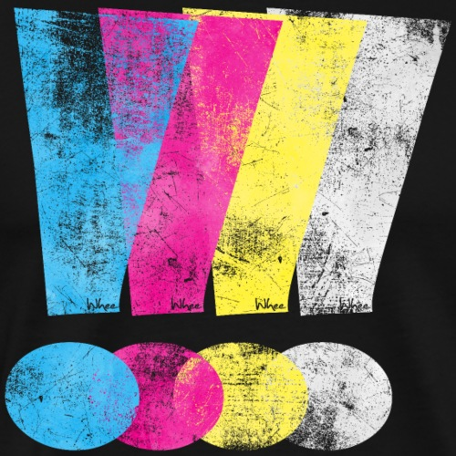 Large Distressed CMYK Exclamation Points