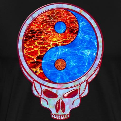 Lava and Water Yin Yang Grateful Dead Style Skull - Men's Premium T-Shirt