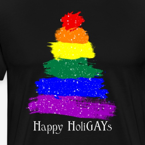 Happy HoliGays LGBT Christmas Tree - Men's Premium T-Shirt
