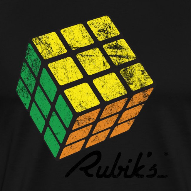 Rubik's Cube Solved Colourful Vintage