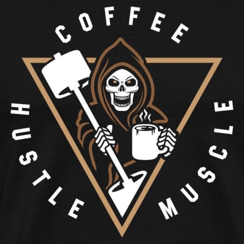 Coffee Hustle Muscle Grim Reaper - Men's Premium T-Shirt