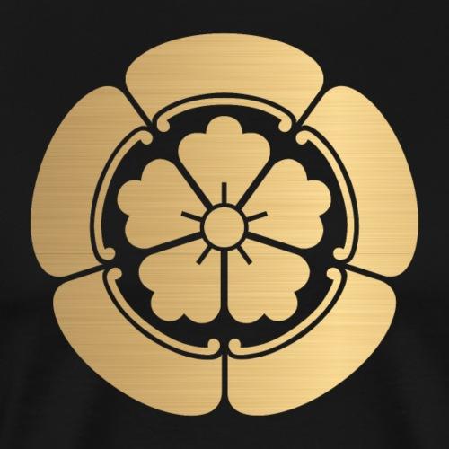Oda Mon Japanese samurai clan faux brushed gold - Men's Premium T-Shirt