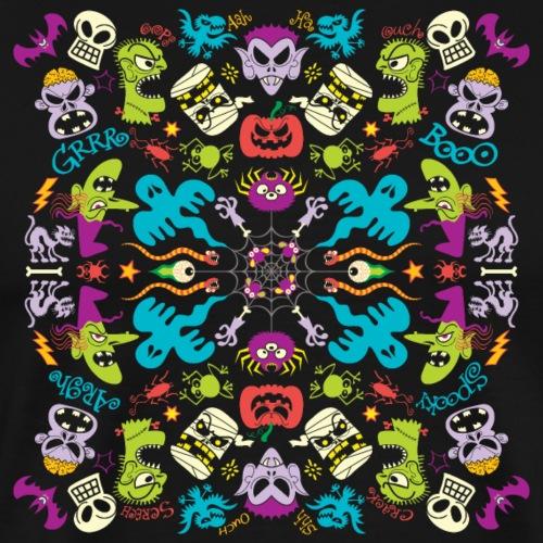 Odd Halloween creatures having fun pattern design - Men's Premium T-Shirt