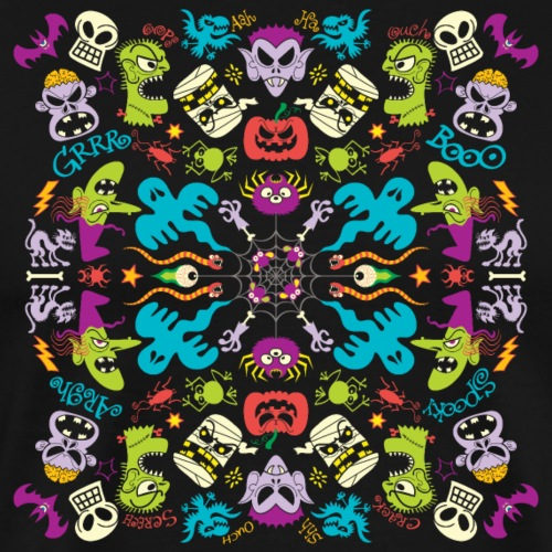 Odd Halloween creatures having fun pattern design