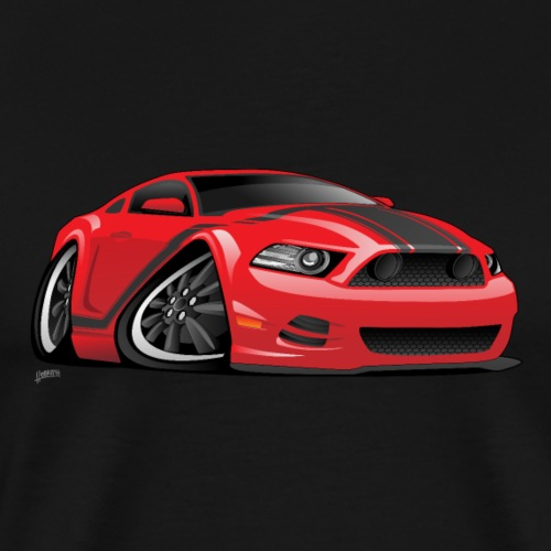 American Muscle Car Cartoon Illustration - Men's Premium T-Shirt