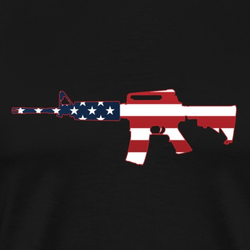 AR-15 Stars & Stripes Rifle Silhouette - Men's Premium T-Shirt
