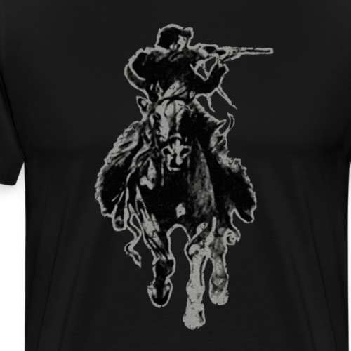 Rustic cowboy with rifle riding horse - Men's Premium T-Shirt