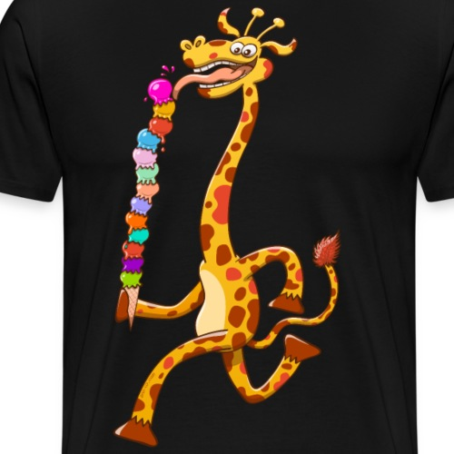 Cool Giraffe Eating Ice Cream - Men's Premium T-Shirt
