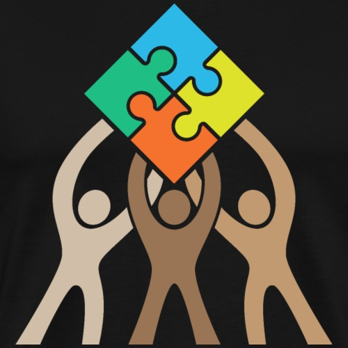Teamwork and Unity Jigsaw Puzzle Logo - Men's Premium T-Shirt