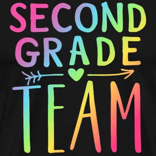 Second Grade Team Neon Rainbow Teacher T-Shirts - Men's Premium T-Shirt