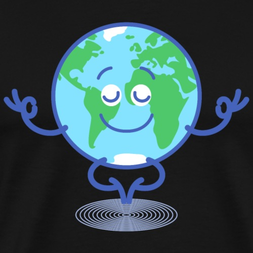 Planet Earth meditating and smiling - Men's Premium T-Shirt