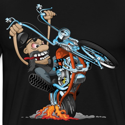 Funny biker riding a chopper cartoon