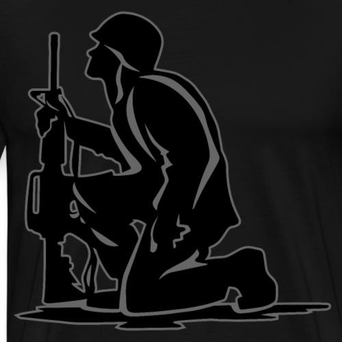 Military Serviceman Kneeling Warrior Tribute Illus - Men's Premium T-Shirt