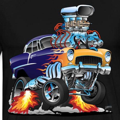 Classic Fifties Hot Rod Muscle Car Cartoon - Men's Premium T-Shirt
