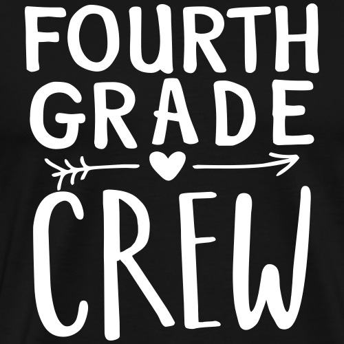 Fourth Grade Crew Heart Teacher T-Shirt - Men's Premium T-Shirt