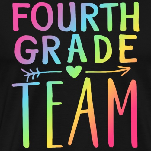 Fourth Grade Team Neon Rainbow Teacher T-Shirts - Men's Premium T-Shirt