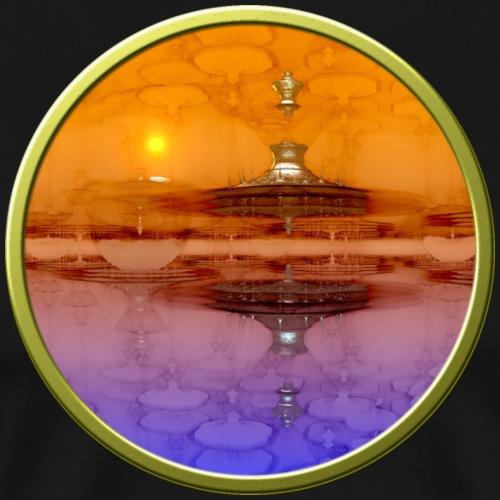 Alien Pagoda Floating in Colorful Sky Fractal - Men's Premium T-Shirt