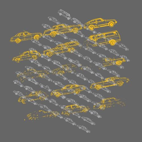 Black/white Vintage Old Cars Designer Graphic - Men's Premium T-Shirt