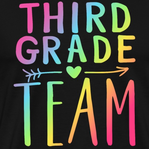 Third Grade Team Neon Rainbow Teacher T-Shirts - Men's Premium T-Shirt