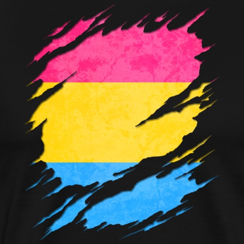 Pansexual Pride Flag Ripped Reveal - Men's Premium T-Shirt